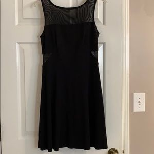Bailey44 Black A-Line Dress with Mesh Inserts